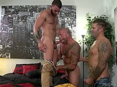 This time Caleb finds himself in his first three-way ever and he seems to be falling for Sean as he watches him and his boyfriend Fernando make out while he strokes his cock.