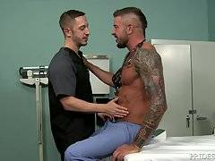 The two swap bjs on the patient table and then Dolf bends Bryan over and licks that ass like no other.