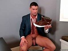 Half-naked Cody Cummings gives hand to his erect dick.